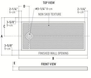 Fleurco Shower Base Rectangular Acrylic Shower Base Side Drain (ABF3260)