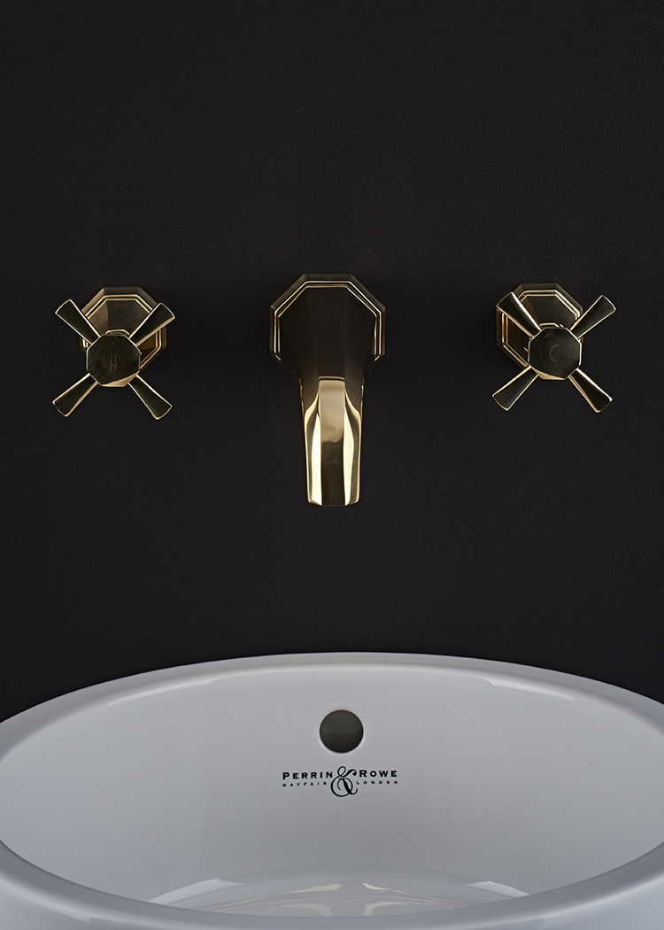Perrin and Rowe : Three Hole wall mounted basin mixer