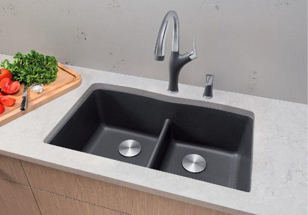 BLANCO DIAMOND U 2 LOW DIVIDE - Granite composite sink in SILGRANIT