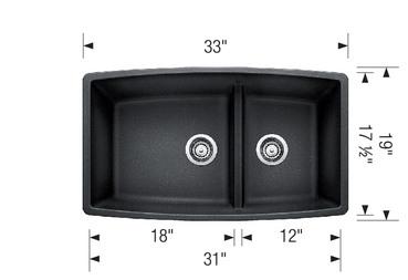 BLANCO PERFORMA U 1 3/4 Granite composite sink in SILGRANIT