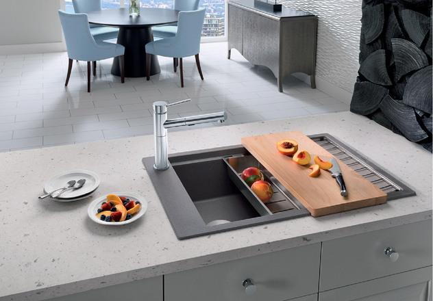 Undermount Granite Kitchen Sink  With Drain Board For Sale