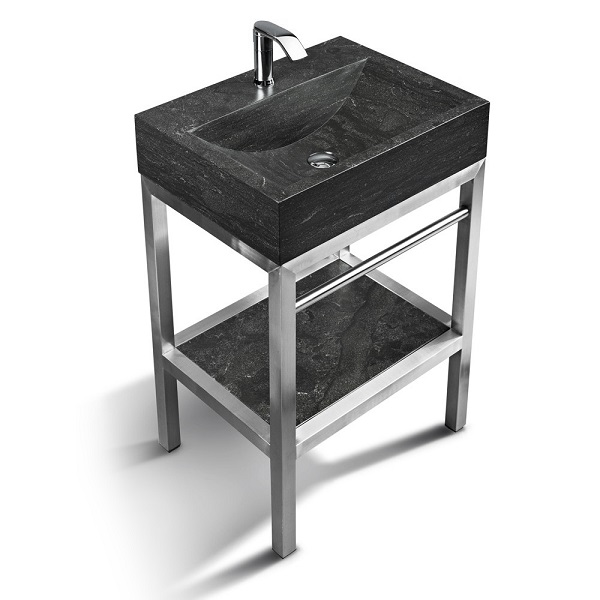"Unik Stone VNM-012 + LPG-006 - 24"" Stone and steel bathroom vanity unit"