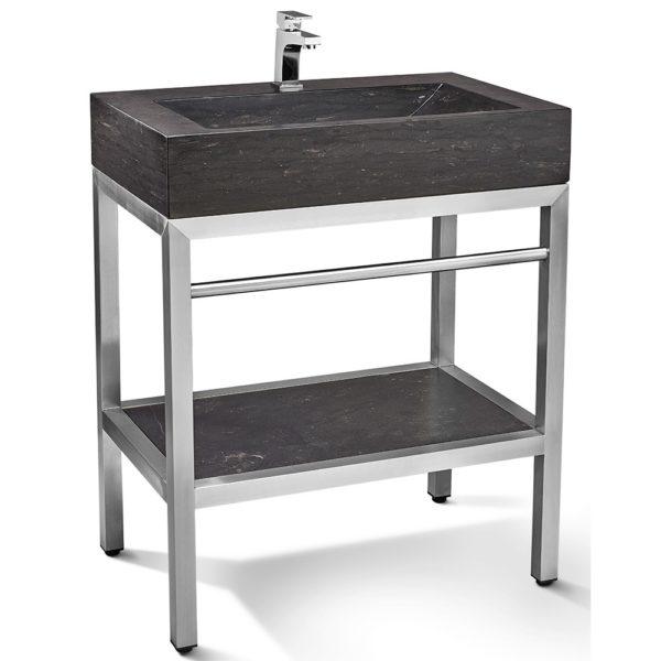 "Unik Stone VNM-015 + LPG-015 - 30"" Stone and steel bathroom vanity unit"