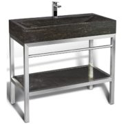 "Unik Stone VNM-003 + LPG-014 - 39"" Stone and steel bathroom vanity unit"