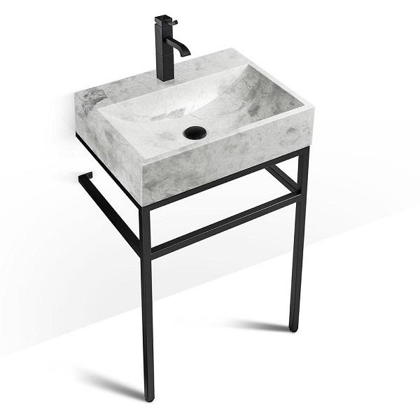 "VBT-024 + LMS-024 - 24"" Marble and black steel bathroom vanity unit"