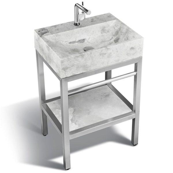 VMS-024 + LMS-24 Marble and steel bathroom vanity unit