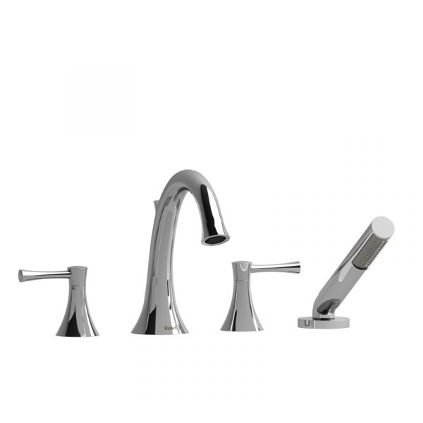 Riobel Edge ED12L 4-piece Deck-mount Tub Filler With Hand Shower