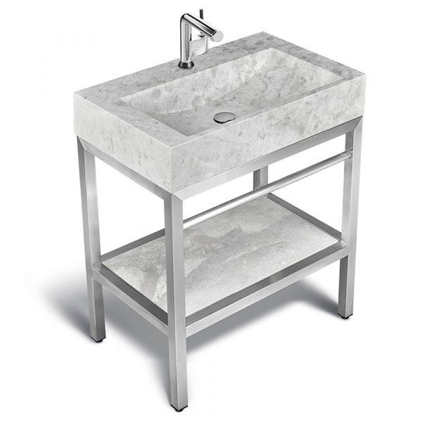 """VMS-030 + LMS-030 - 30"""" Marble and steel bathroom vanity unit"""