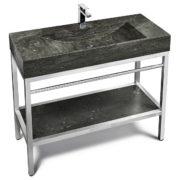 "VNM-014 + LPG-021 - 48"" Stone and steel bathroom vanity unit"