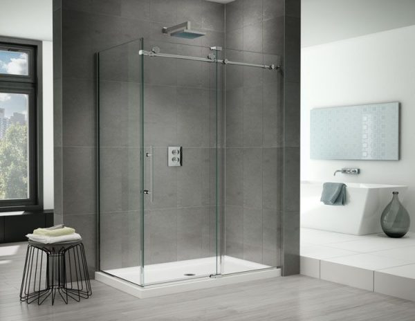 Fleurco K2 2 Sided CRP 79″ H Sliding Door And Fixed Panel