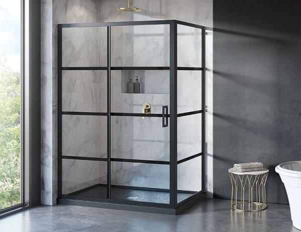 Fleurco Latitude Matte Black Shower Door LA26036