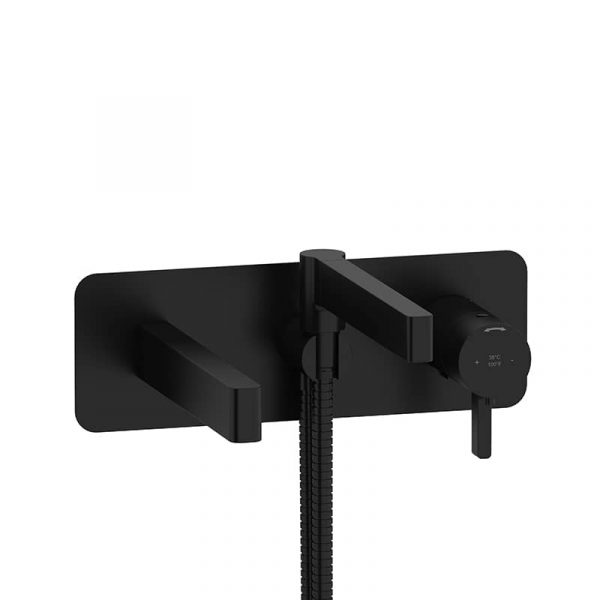 Riobel Paradox PX21BK Wall-mount Tub Filler In Black