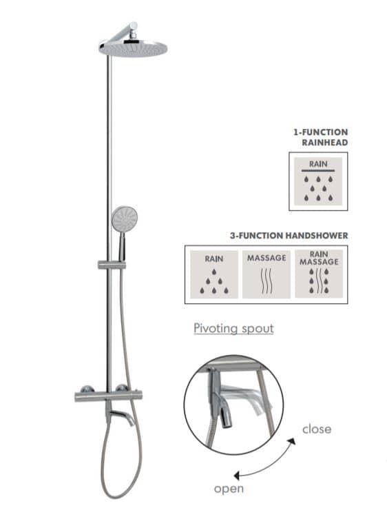 Aquabrass 62335PC Tila Shower Column