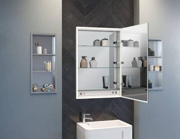 Fleurco MCHS2436-14 Halo LED Medicine Cabinet Open