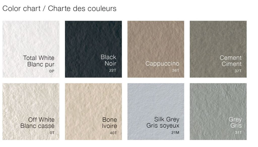 Fiora Shower Bases Colors Chart
